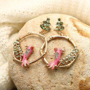 Bamboo Rhinestone Parrot Earrings